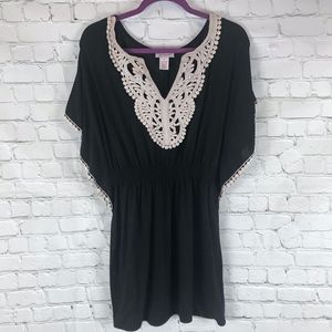 Candie's Dresses - Candies Black and Cream Crochet Shirt Dress Size S